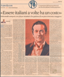 CEO of Italconsult Prof. Antonio Bevilacqua releases an interview to Il Sole 24 ore